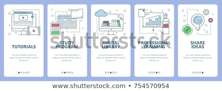 On line education, training, on line tutorial, e-learning concept. Flat vector illustration. Stock photo © makyzz