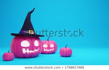 Halloween pumpkin face - creepy smile Jack o lantern in magic hat Stock photo © MarySan