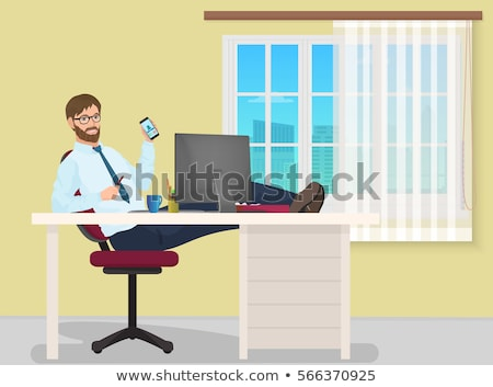 Happy business man sitting in office working with computer have a rest. Stock photo © deandrobot