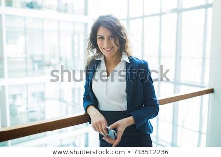 肖像 · 魅力的な · ブルネット · 白 · ジャケット · ポーズ - ストックフォト © acidgrey