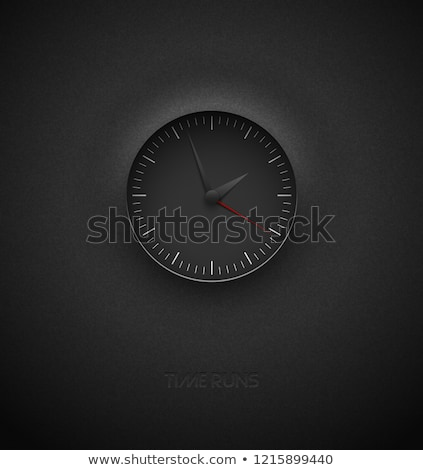 Realistic deep black round clock cut out on textured plastic dark background. White round scale Stock photo © Iaroslava