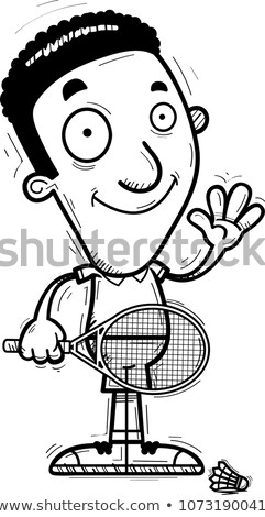 Cartoon noir badminton joueur illustration Photo stock © cthoman