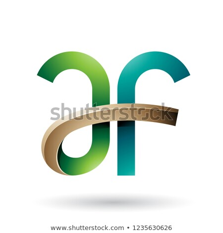Green and Beige Bold Curvy Letters A and F Vector Illustration Stock photo © cidepix