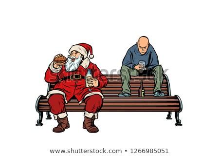 Santa Claus eats fast food Burger, hooligan drinks drunk Stock photo © studiostoks