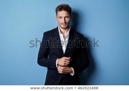 Portret knap jonge man zwart pak boeg Stockfoto © deandrobot