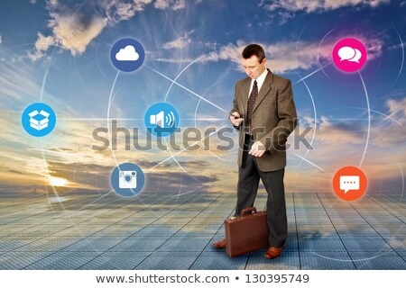 Businessman standing in social media concept and  Stock photo © ra2studio