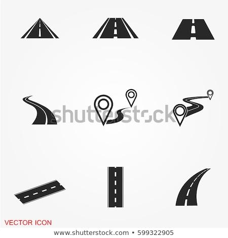 ツリー · ビッグ · 道路 · 景観 · シルエット - ストックフォト © smoki