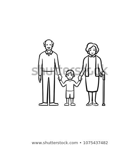 Dziadkowie wnuk szkic ikona Zdjęcia stock © RAStudio