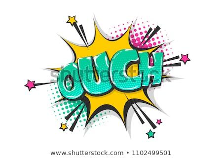 Upsz szövegbuborék szalag poszter matrica mértani Stock fotó © FoxysGraphic