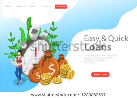 Isometric flat vector landing page template of quick loan, easy cash. Stock photo © TarikVision