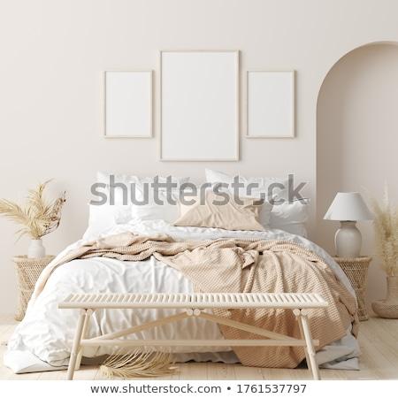 White and beige bedroom in boho style  Stock photo © dashapetrenko