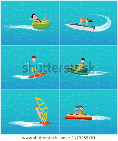 water transport and fun for teenagers set vector stock photo © robuart