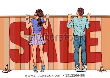ストックフォト: 家族 · ルックス · フェンス · 販売 · 家 · 不動産