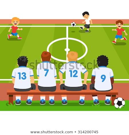Boys Football Team Sitting on Substitution Bench Stock photo © matimix