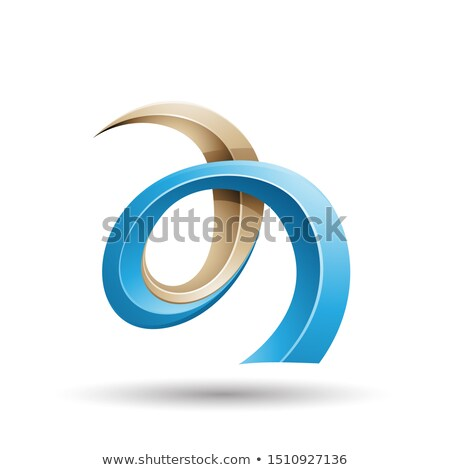 Blue and Beige Curled Ivy Like Letter A Icon Stock photo © cidepix