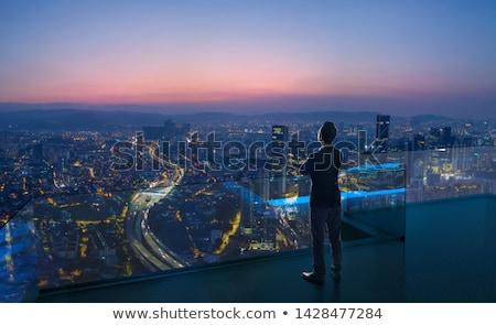 városi · éjszakai · ég · hóbortos · illusztráció · házak · égbolt - stock fotó © colematt