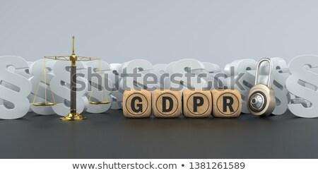 Poutre équilibre texte général protection des données réglementation Photo stock © limbi007