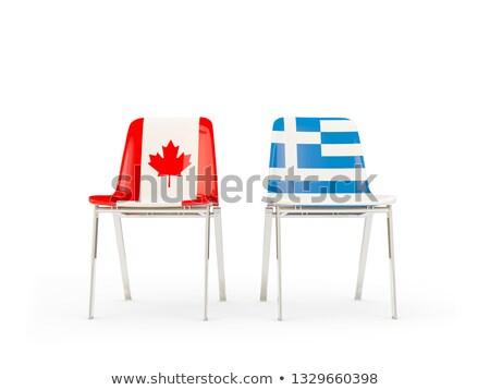 два стульев флагами Канада Греция изолированный Сток-фото © MikhailMishchenko