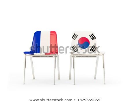 Iki sandalye bayraklar Fransa Güney Kore yalıtılmış Stok fotoğraf © MikhailMishchenko