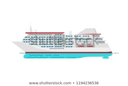 grande · Cartoon · buque · de · vapor · océano · viaje · barco - foto stock © robuart