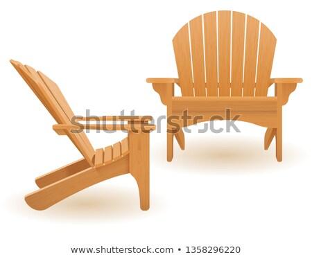 ビーチ 庭園 アームチェア デッキチェア 木製 ベクトル ストックフォト © konturvid