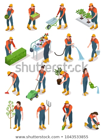 Stock photo: Gardener with cart and plants isometric 3D illustration.