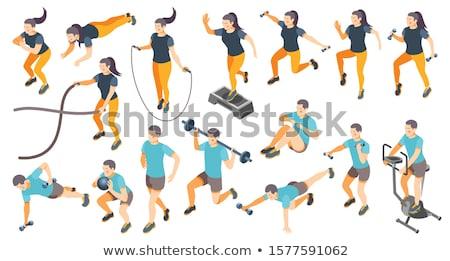 Vector isometric gym exercise machines set Stock photo © tele52