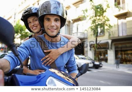 Сток-фото: портрет · улыбаясь · верховая · езда · мотоцикле · вместе