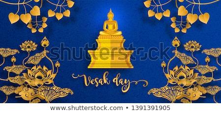 Jour carte de vœux or papier coupé buddha Photo stock © cienpies