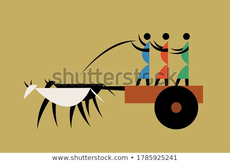 Happy farmer riding cart Stock photo © colematt