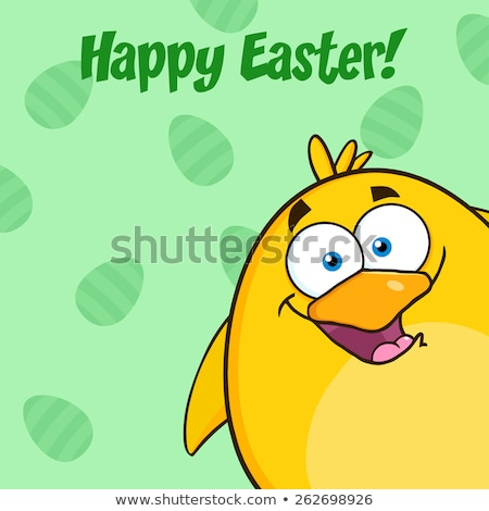 Happy Easter With Yellow Chick Cartoon Character Looking From A Corner Stock photo © hittoon