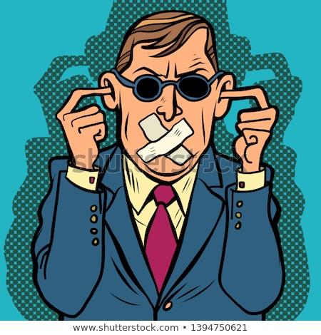 Uomo cieco sordi censura fumetto Foto d'archivio © rogistok