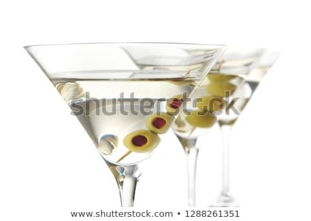 Klassiek drogen martini olijven geïsoleerd witte Stockfoto © dla4