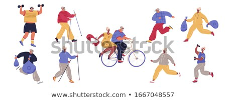 Set of healthy active lifestyle seniors. Elderly people characters. Modern Grandfather And Grandmoth Stock photo © brahmapootra