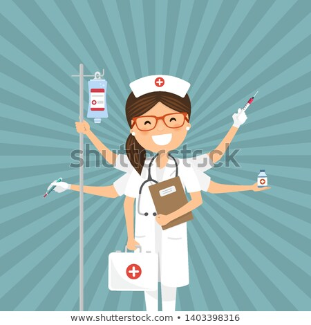 Infermiera multitasking retro medicina donna abstract Foto d'archivio © Imaagio
