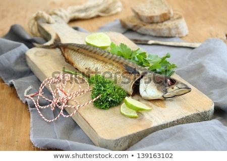 füstölt · makréla · citrom · petrezselyem · vacsora · citrus - stock fotó © melnyk