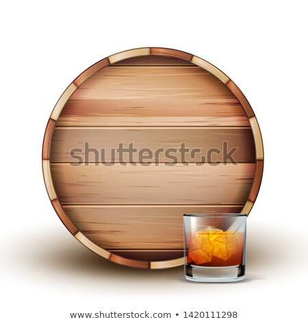 Blank Wooden Barrel And Glass Of Cognac Vector Stock photo © pikepicture