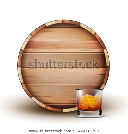 Houten vat glas cognac vector bruin Stockfoto © pikepicture