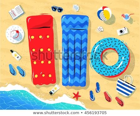 Summertime ilustracja czerwony basen tratwa górę Zdjęcia stock © Sonya_illustrations
