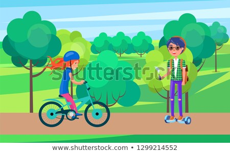 Students Teenagers on Bike and Hoverboard Vector Stock photo © robuart