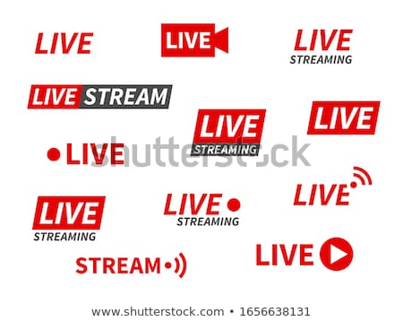 live streaming logo on banner   play button for online broadcast stock photo © winner