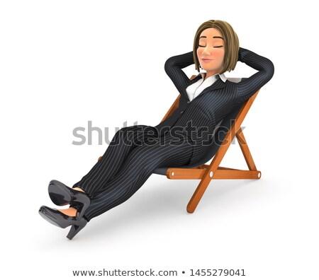 3D iş kadını rahatlatıcı güverte sandalye örnek Stok fotoğraf © 3dmask