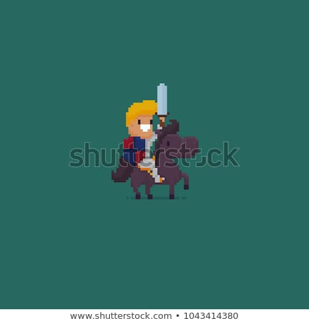 Pixel Character with Sword, Heroic Man and Icons Stock photo © robuart