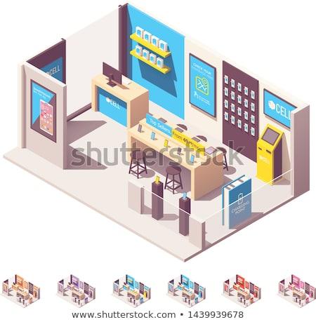 Vector isometric mobile phone operator shop Stock photo © tele52