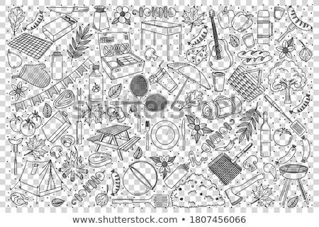 Piknik kézzel rajzolt firkák illusztráció BBQ rajz Stock fotó © balabolka