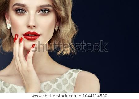 красные губы красивой женщины красоту лице Сток-фото © serdechny