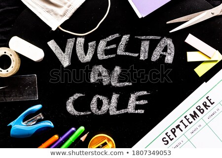calendar, pencil crayons and text back to school Stock photo © nito