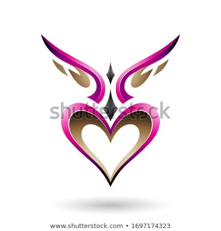 Magenta pássaro como coração sombra vetor Foto stock © cidepix
