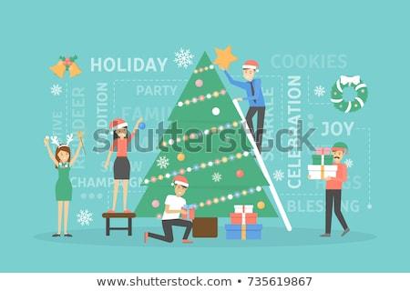 Fiatalember karácsonyfa izolált fehér család boldog Stock fotó © Elnur