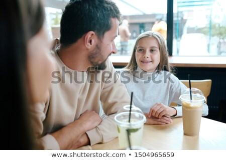 Сток-фото: довольно · молодой · девушки · говорить · отец · молоко